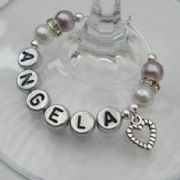 Small Heart Personalised Wine Glass Charm - Elegance Style